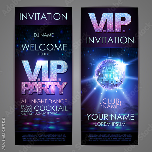 Set of disco background banners. V.I.P. party poster - 238755263