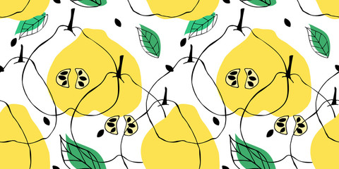 Seamless pattern with outline drawing of apple quince. Backdrop with fruits, leaves and seeds. Tropical background with silhouette of pear. © Anastasiia Komarova