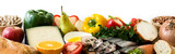 Healthy eating. Mediterranean diet. Fruit,vegetables, grain, nuts olive oil and fish isolated on white background. Panoramic view