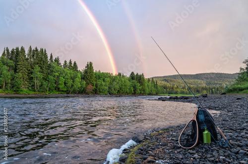 Foto Murales Flyfishing under summer rainbow