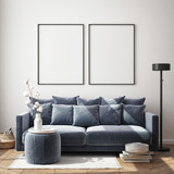 mock up poster frame in modern interior background, living room, Scandinavian style, 3D render, 3D illustration - 238809016