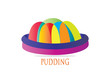 Jelly pudding vector isolated illustration