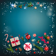 Blue holiday card with Christmas decorations and balls, stars, gift boxes, fir tree branches on fairy background. Christmas square festive template.