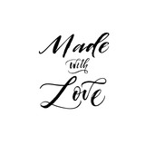 Made with love phrase. Hand drawn brush style modern calligraphy. Vectorillustration of handwritten lettering.