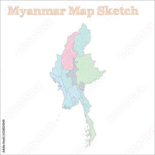 Myanmar map. Hand-drawn country. Sightly sketchy Myanmar map with ...