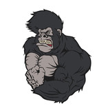 Ferocious gorilla athlete cartoon