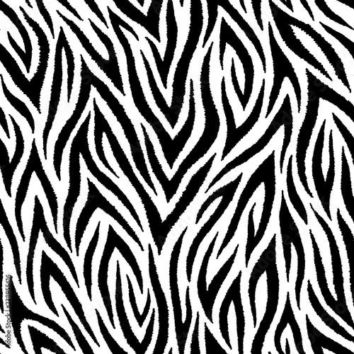 Seamless pattern with zebra fur print. Wild animalistic texture.