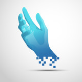 graphic of hand presented in digital technological style, concept of human and computer technology - 238856035