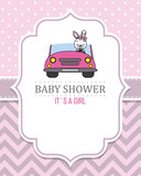 baby girl shower card. Cute rabbit  in car. Space for text