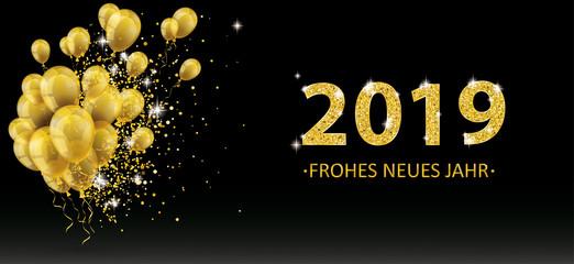 Goldene Luftballons 2019 Frohes Neues Jahr