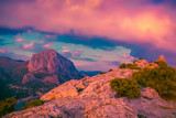 Mountains at sunset. Scenic nature landscape