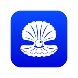Pearl in a shell icon digital blue for any design isolated on white vector illustration - 238910669