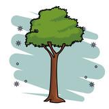 leafy tree icon skyscrapers silhouette cityscape - 238911208