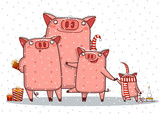 Merry Christmas and Happy New Year background with pig family , vector , illustration © artkukuskina