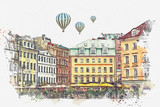 A watercolor sketch or an illustration of a beautiful view of the architecture of Riga in Latvia in the center of the city. Hot air balloons are flying in the sky.