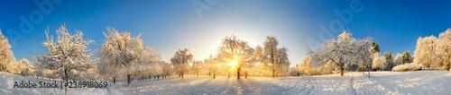 Leinwanddruck Bild Panorama von zauberhafter Winterlandschaft