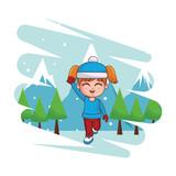 cute winter girl cartoon