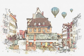 A watercolor sketch or an illustration of traditional German architecture in Nuremberg in Germany. Hot air balloons are flying in the sky.