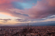 aerial view of the city of paris and the eiffel tower at sunset in france - 238926896