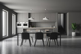 Gray kitchen interior, bar and table - 238941294