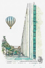 """Постер, картина, фотообои """"Watercolor sketch or illustration of a beautiful street with architecture in Berlin in Germany. Hot air balloon flies in the sky."""""""