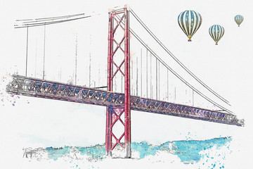 illustration Bridge called April 25 in Lisbon in Portugal. Hot air balloons are flying in the sky.