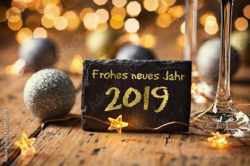 Leinwanddruck Bild Frohes neues Jahr 2019