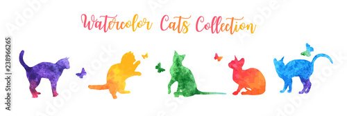 obraz lub plakat Cute colorful watercolor cat silhouettes playing with butterflies. vector illustration.