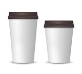 Realistic paper white coffee cups big and small size. Carton coffee or tea cup mock up with plastic lid. Vector template for your logo design