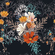 Cosmos vector floral pattern, ideal for fabric