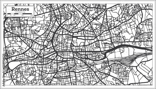 Rennes France City Map In Retro Style Outline Map Buy Photos
