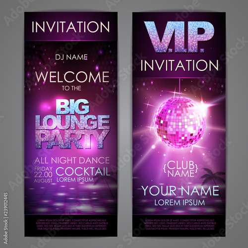 Set of disco background banners. Big lounge party poster - 239012445
