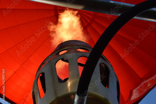 Fire in hot air ballon - 239017450