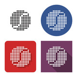 Dotted icon of tennis ball in four variants. With short and long shadow