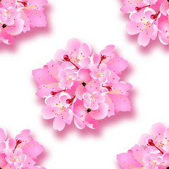 Decorative sakura flowers, bouquet, design elements with shadow. Seamless. Can be used for cards, invitations, posters. illustration