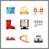 9 little icon. Vector illustration little set. kid car and alphabet book icons for little works