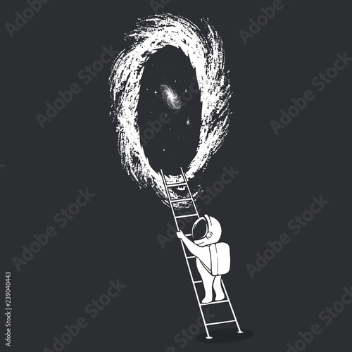 an astronaut climbs the ladder into wormhole © Dimonika