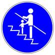 Leinwandbild Motiv ssne0 SafetySignNewEscalator ssne - shas556 SignHealthAndSafety shas - german Gebotszeichen: Rolltreppe - Kinder an die Hand nehmen - english - escalator - children must be supervised - xxl g6865