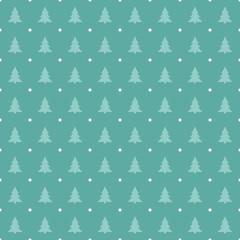 Christmas - Seamless Blue Pattern with Pine Trees and Polka Dots - Vector © Mayra
