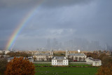 View of a rainbow over Canary Wharf in London © tom