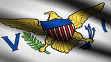 United States Virgin Islands Flag Waving Textile Textured Background. Seamless Loop Animation. Full Screen. Slow motion. 4K Video - 239068834