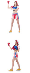 Young female boxer isolated on white  © Elnur