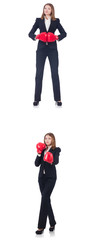 Businesswoman with boxing gloves isolated on white  © Elnur