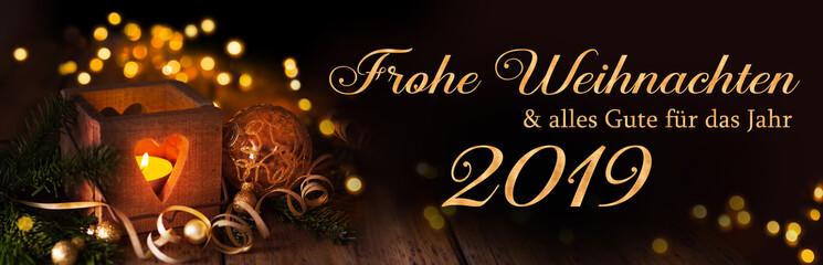 Frohe Weihnachten und alles Gute für das Jahr 2019  -  Weihnachtskarte, deutsch, 2018,2019 © Floydine