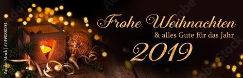 Leinwanddruck Bild Frohe Weihnachten und alles Gute für das Jahr 2019  -  Weihnachtskarte, deutsch, 2018,2019