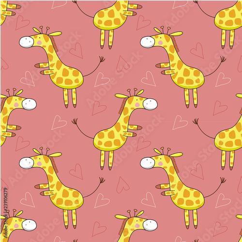 obraz lub plakat Seamless pattern cute two legs standing giraffe in pink background