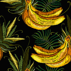 Embroidery bananas and palm leaves seamless pattern, jungle art. Fashion template for clothes, textiles and t-shirt design © no_stromo