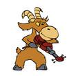 Goat playing violin cartoon