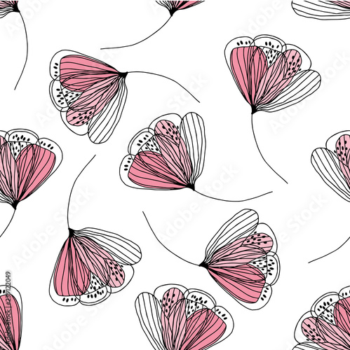 Seamless pattern with abstract flowers on white background. Vector illustration. Floral hand-drawn background. - 239122049