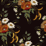 Beautiful vintage bouquet of chamomiles and poppies, classic embroidery seamless background for clothes - 239123020